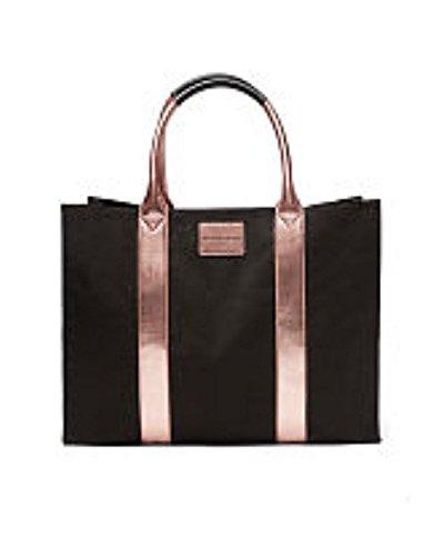 VICTORIA SECRET LIMITED EDITION 2016 TOTE bag weekender BLACK AND ROSEGOLD TRIM