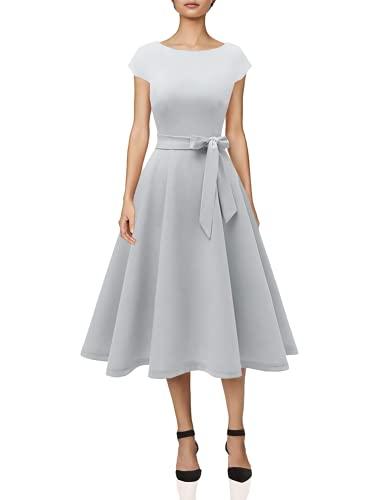 DRESSTELLS Midi 1950er Vintage Retro Rockabilly Kleid Damen elegant Hochzeit Cocktailkleid Silver S