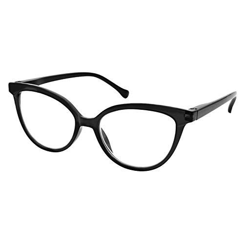 TBOC Gafas de Lectura Presbicia Vista Cansada - Graduadas +2.00 Dioptrías Montura de Pasta [Negra] de Diseño Moda para Mujer Lentes de Aumento para Leer Ver de Cerca con Bisagra Muelle