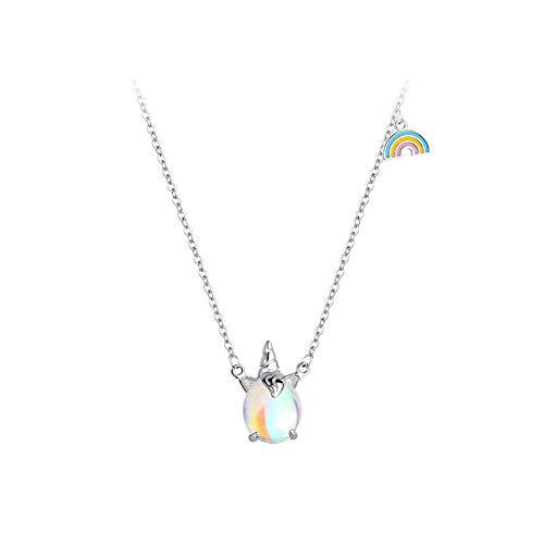 Unicornio Arcoiris Regalos Collar de Plata Rosa Claro Brillante para niñas Niñas Joyas Fiesta de cumpleaños con Caja de Regalo de Terciopelo (collar)
