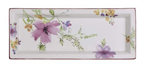 Villeroy & Boch - Mariefleur Gifts Rechteckige Schale, Servierschale aus Premium Porzellan mit floralem Muster, romantischer Landhausstil, weiß/bunt
