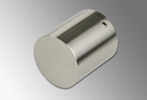 Liedeco eindstuk, eindknop voor gordijnroede, buizen 28 mm ø | roestvrijstalen look | 1 stuk