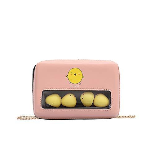 Finebo Stilvolle transparente kleine quadratische Tasche süße Kette Schulter Eine Schulter Transparente kleine quadratische Tasche süße Kette Mode Paket (, Rosa,)