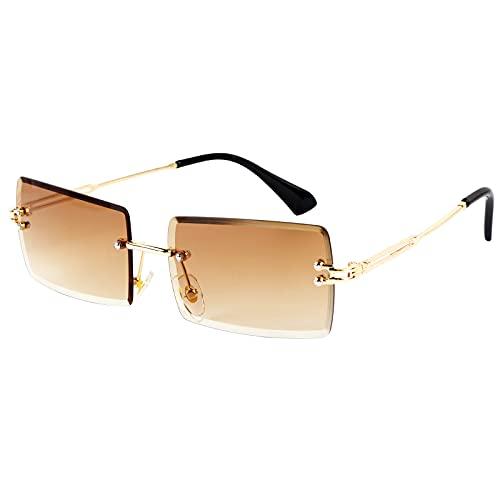 BETESSIN Deko Brille randlos Ohne Stärke transparent Linse Retro Ohne Sehstärke Ohne Rahmen für Frauen Männer Rechteck durchsichtige Linse (Braun)