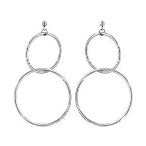 1001 Bijoux – oorbellen staafje staal 2 in elkaar verstrengelde ringen.