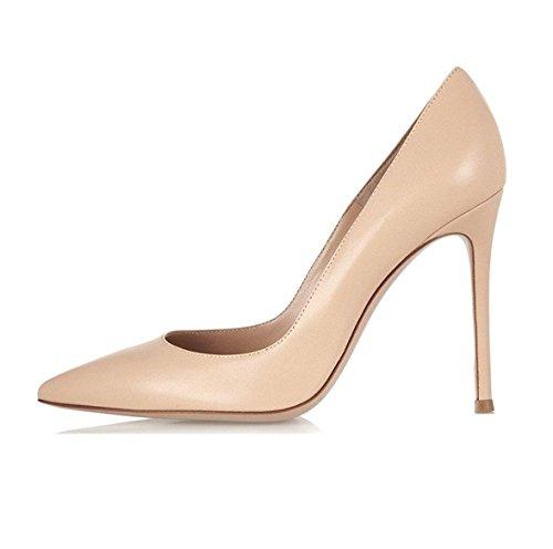 EDEFS - Scarpe col Tacco Donna - High Heels Sexy - Decolte Donna Tacco Alto - Tacchi a Spillo - Beige - Taglia EU42