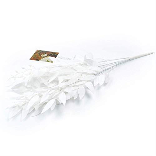 Rama de sauce de seda artificial 10 piezas de hojas de sauce DIY fiesta jarrón guirnalda para decoración del hogar accesorios rama verde oscuro