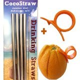 4 Stainless Steel Wide Smoothie Straws + Cleaning Brush + Citrus Peeler – CocoStraw Large Straight Frozen Drink Straw – + Cleaning Brush by CocoStraw