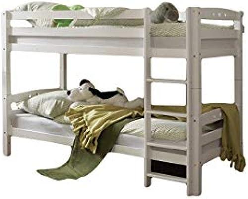 Etagenbett Joy Buche massiv Weiß EN 747-1 + 747-2 Doppelbett Spielbett Kinderbett Kinderzimmer Bett Bettgestell Holzbett Hochbett Stockbett