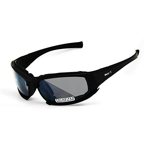 EnzoDate Polarisierte Daisy X7 Armee Sonnenbrille, militärische Brille 4 Objektiv Kit Taktische Schutzbrille (schwarz, 1 Objektiv Polarized (von 4))