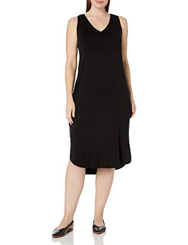 Marca Amazon - Vestido de punto sin mangas con cuello en V para mujer, talla grande
