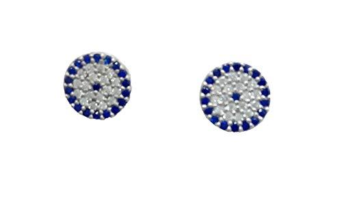 Pendientes de plata de ley con circonitas talla brillante y color azul zafiro. Diametro 0,9 cm
