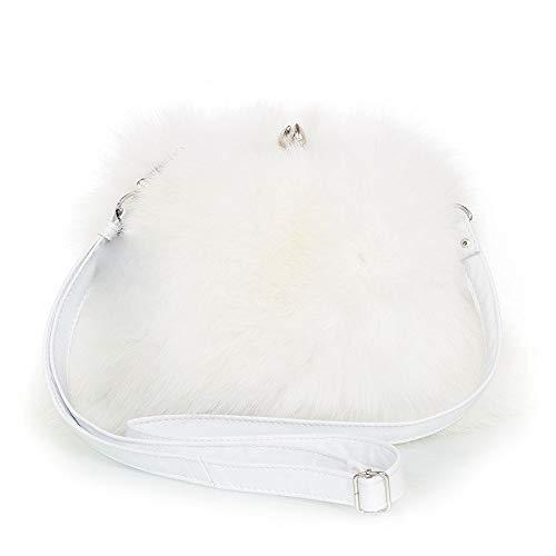 FOX FASHION Damen Umhängetasche mit Bügel aus weiß Fuchsfell Handtasche Pelztasche Fuchs Fell Pelz Fuchspelz Tasche Echtfell Felltasche Echt