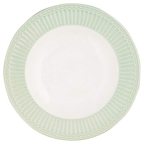 GREENGATE sechs 6 Suppenteller ALICE aus grünem Porzellan 21 cm STWDPLAALI3906