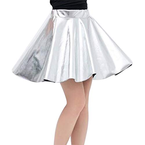 LaoZanA Mujer Falda Skater Acampanada Metálica Brillante Plisado Mini Faldas Plateado L