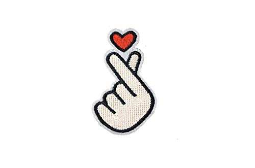 Premium Korean Kpop Finger Heart Sew On Embroidery Patch