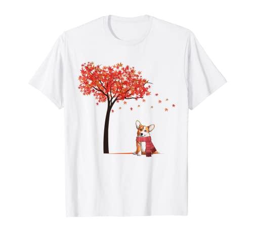 Corgi Arce Tree Lazy DIY Disfraz de Halloween Perro Otoño Otoño Camiseta