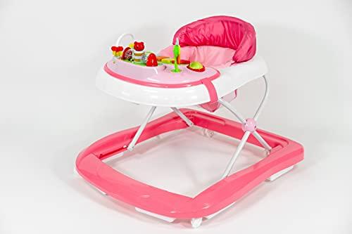 Buddy Baby Funny - Andador Bebe con Base Antivuelco - Incluye Bandeja De Sonidos Y Juegos (rosa)