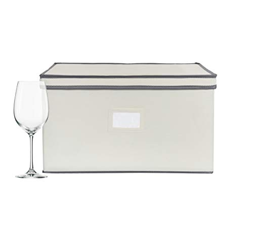 Chapman Grand Wine Glass Storage Chest Protective Container Box with Lid for Stemware Light Beige-Gray