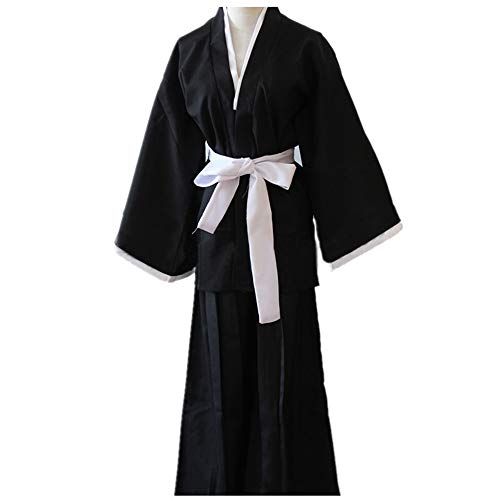 Desconocido Generico Kimono Kendo Bleach Cosplay Ichigo Shinigami Disfraz Hombre Samurai, M (164-170 cm)