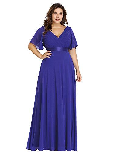 Ever-Pretty Vestido de Fiesta Noche Largo para Mujer Cuello V Manga Corta Talla Grande Azul Zafiro 58