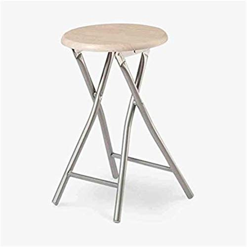 Wuzhengzhijia Folding Stool Round Dining Stool, Stacking Stool with Silver Carbon Steel 4 Legs and Anti-Slip Mat, Best Home Garden Chairs ,47 X 30 X 30 cm
