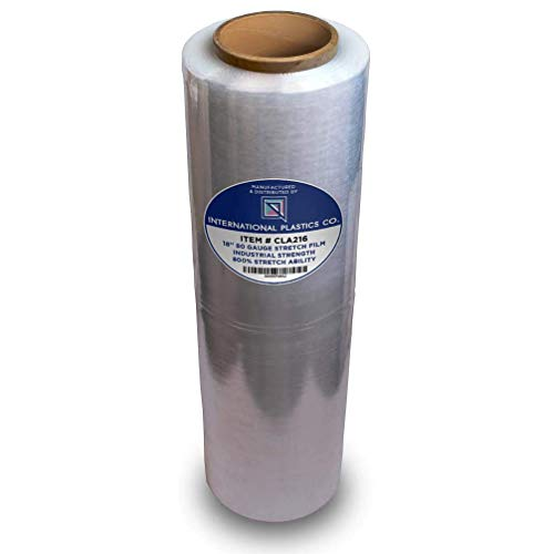 """18"""" Stretch Film/Wrap 1500 feet 7 Layers 80 Gauge Industrial Strength up to 800% Stretch 20 Microns Clear Cling Durable Adhering Packing Moving Packaging Heavy Duty Shrink Film (1 Pack, Clear)"""