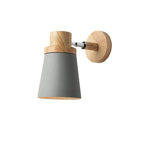 Nordic natural wooden wall light Simple modern bedroom headboard wall lamp Living hall corridor light durable (Color : C)