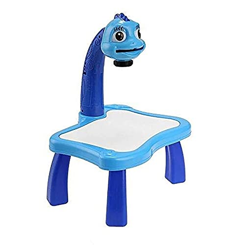 CNmuca Mesa de Aprendizagem Infantil com Projetor Inteligente Crianças Pintando Mesa Brinquedo com Luz para Crianças Ferramenta Educacional Mesa de Desenho Azul