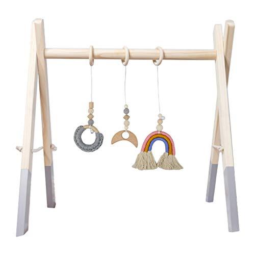 WEUITEE Baby Play Gym, 1 set nórdico de dibujos animados bebé de madera gimnasio Fitness marco colgante juguetes KitBaby Sensory Toys Baby Gym