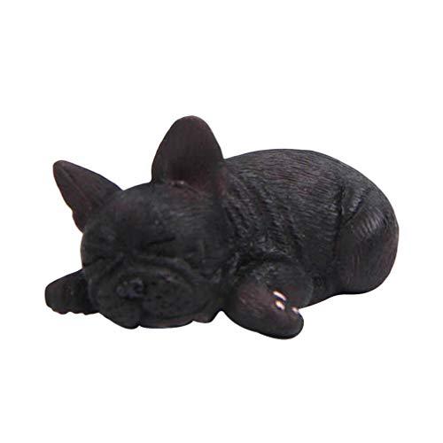 BESPORTBLE Sleeping French Bulldog Toy Resin Mini Sleeping Puppy Statue Miniature Doggy Figurine Cake Topper Car Dashboard Tabletop Ornament(Black)