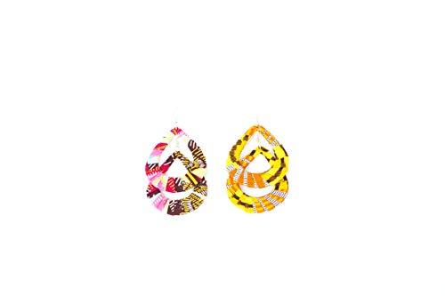 Pendientes de diseño de tejido wax africano, 100% algodón, hechos en Francia, amarillo, rosa, marrón. Joya colorida elegante hecha a mano, idea regalo original para mujer Boutique Mansaya