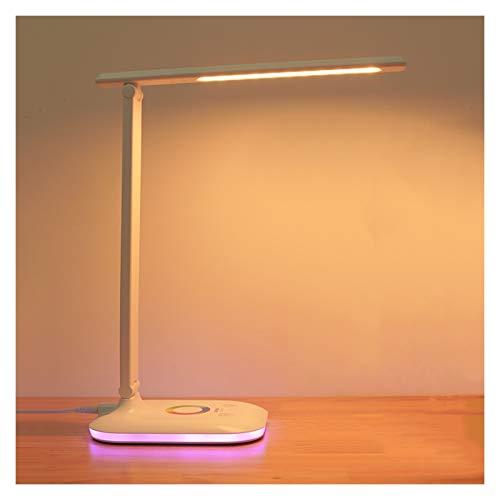 Lámpara Escritorio LED Lámpara de escritorio LED Plug-in Lámpara de escritorio de control táctil regulable para la oficina de la sala de estudio, temperatura de color ajustable, luz de noche colorida