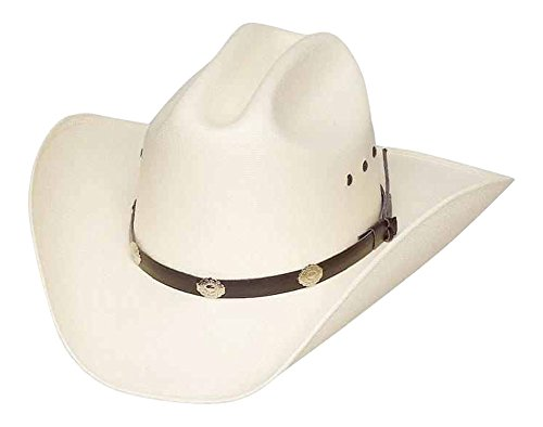 Classic Cattleman Straw Cowboy Hat with Silver Conchos and Elastic Band - White - S/M
