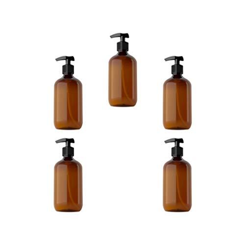 Solustre 5 Stück Spender Leere Flasche Pumpflasche 300ml Nachfüllbare Handlotion Shampoo Schaum Gel Wasserbehälter Travel Home Hotel (Braun)