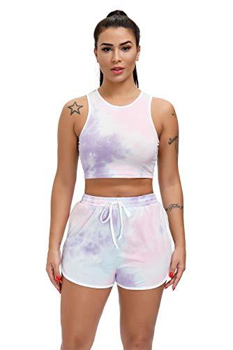 EVELIFE Trainingsanzug Damen Tie Dye Crop T-Shirt + Shorts Yoga Gym Workout Kurze Top und Hose Sommer Outfits Zweiteiler Sportanzug Set(Violett X-Large)
