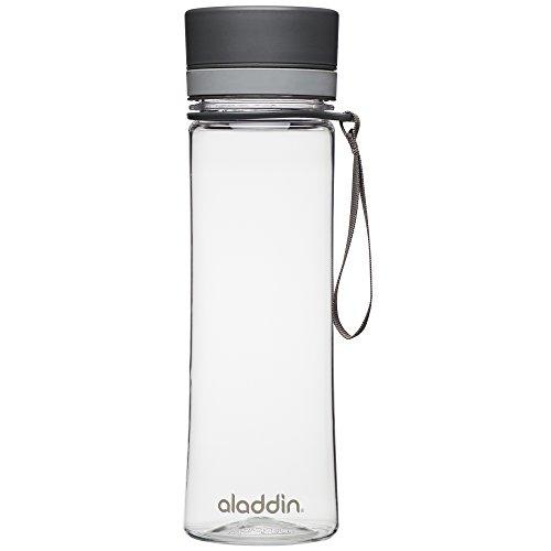 Aladdin AVEO Trinkflasche aus Tritan-Kunststoff, 0.6 Liter, Grau, Auslaufsicher, Durchsichtig, Wasserflasche Fahrradflasche