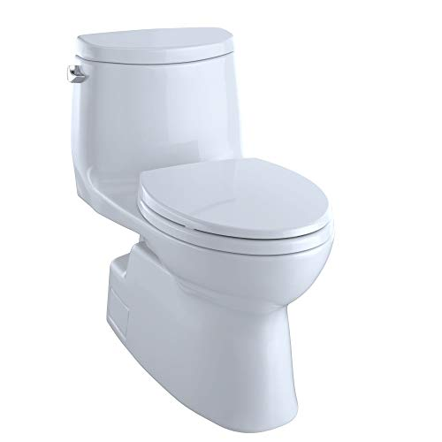 TOTO Carlyle II One-Piece Elongated 1.28 GPF Universal Height Skirted Toilet with CEFIONTECT, Cotton White