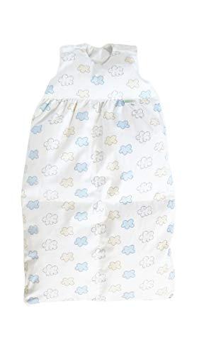 Odenwälder BabyNest Daunen-Schlafsack / Kinderschlafsack / Babyschlafsack waschbar / Winterschlafsack atmungsaktiv / leichter Daunenschlafsack, Größe:90, Design:Wolke bleu