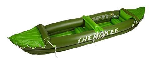"Waimea - Canoa Gonfiabile per 2Persone ""Cherokee"", Unisex, 2 Personen Kanu Aufblasbar Cherokee, Armeegrün Limone Weiß, Taglia Unica"