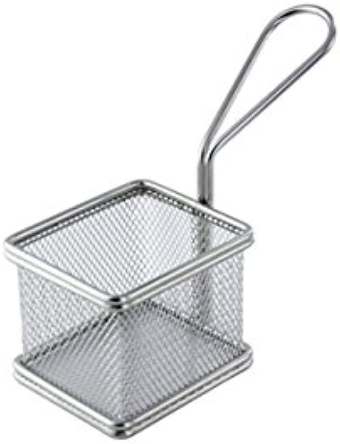 Small Stainless Steel Fryer Basket (Case of 6), PacknWood - Metal Wire Display Basket Stand (3.1 x 2.75 x 2.5 ) 294PANC8