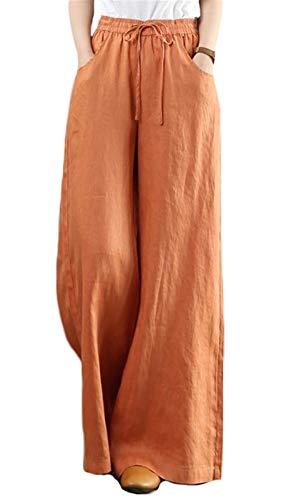 Icegrey Damen Leinenhose Hohe Taille Weites Bein Sommer Casual Lange Hose Sporthose Yogahose, Freizeit, Urlaub, Strand mit Kordelzug, Orange, L