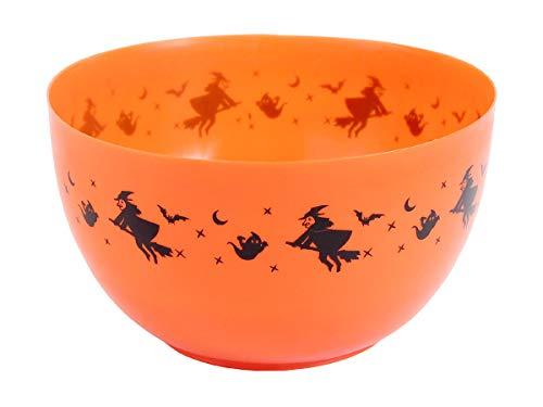 Halloween Schale für Bonbons Süßigkeiten Schüssel Gruselige Deko - Farbe: Orange - 25 x 10 cm Platz für über 100 Bonbons
