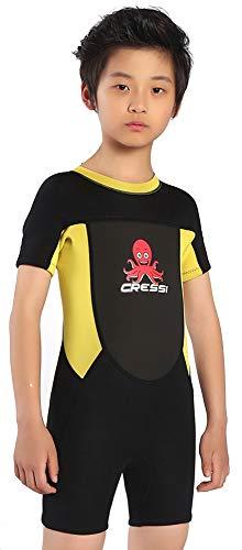 Cressi Smoby Shorty Wetsuit Traje de Neopreno 2mm para niños, Unisex-Baby, Negro/Amarillo, 3/4 Años