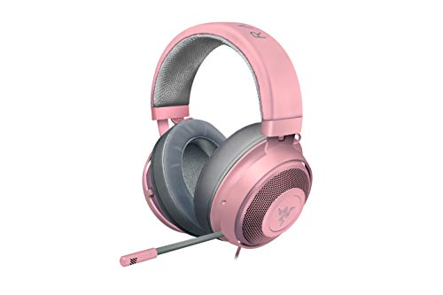 Razer Kraken Auriculares Gaming con cable para juegos multiplataforma para PC, PS4, Xbox One & Switch, Diafragma 50 mm, Cable de 3.5mm con controles de línea, Color Rosa (Quartz)
