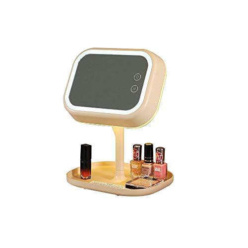Miroir de maquillage éclairé double face de forme carrée multifonctions, rotation avant et arrière de 180 °. Rose et vert. (Rose)