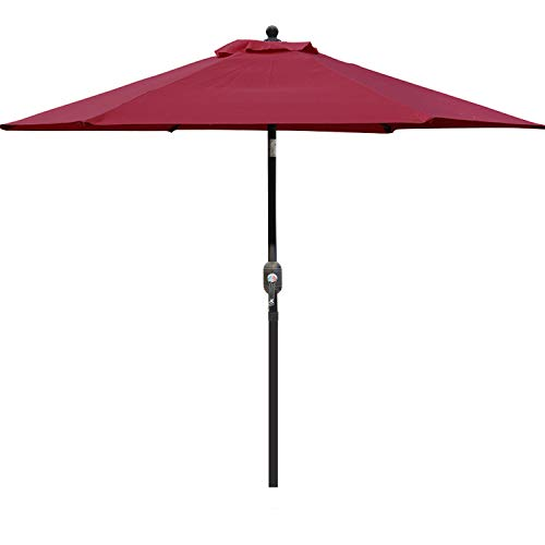 Blissun 7.5 ft Patio Umbrella, Yard Umbrella with Push Button Tilt and Crank(Red)