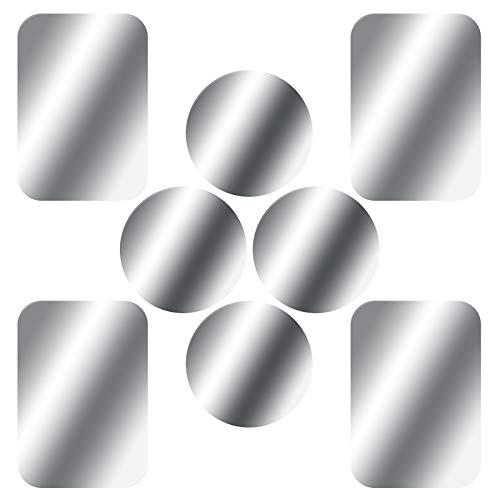 SKYEE [8 Stück] Metallplatte Metallplättchen Selbstklebend Ersatzplatten 4 Runden und 4 Rechteckig mit 3M Klebefolie für Magnet KFZ Handyhalterung kompatibel mit Handy und Tablet - Silber