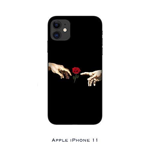 Funda iPhone 11 Carcasa Apple iPhone 11 Flores creación de adán con Rosa/Cubierta Imprimir también en los Lados/Cover Antideslizante Antideslizante Antiarañazos Resistente a Golpes Protectora