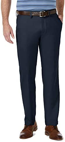 Haggar Men s Cool 18 Pro Straight Fit Flat Front Superflex Waistband Pant Navy 36Wx32L product image